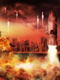 Rockets and fire. Rocket taking off on the background of the city vector illustration