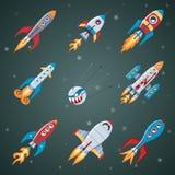 Rockets Flat Icon Set Imágenes de archivo libres de regalías