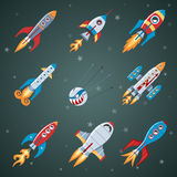 Rockets Flat Icon Set Royalty Free Stock Images