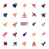 Rockets icon set, flat silhouettes of space ships. Can be used for web design, and packaging design. Vector objects Royalty Free Stock Photos