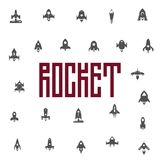 Rockets icon set, flat silhouettes of space ships. Can be used for web design, and packaging design. Vector objects Royalty Free Stock Photo