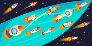 Rockets race horizontal banner, cartoon style. Rockets race horizontal banner concept. Cartoon illustration of rockets race vector horizontal banner for web Royalty Free Stock Photography
