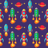 Rockets seamless pattern. Background with rockets, planets and stars. Vector illustration Royalty Free Stock Photos