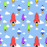 Rockets seamless pattern Royalty Free Stock Photography