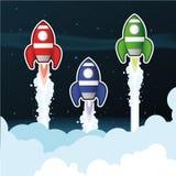 Rockets sobre las nubes Imagen de archivo libre de regalías