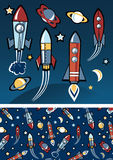 Rockets in space. Vector illustration of space rockets and planets Stock Photo