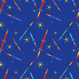 Rockets in space seamless pattern Royalty Free Stock Photo