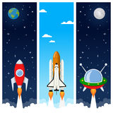 Rockets & Space Shuttle Vertical Banners. A collection of three vertical banners with the Earth, the Moon, a red rocket, a shuttle and a spacecraft taking Royalty Free Stock Image