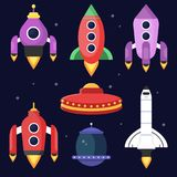 Rockets and space shuttles. Vector illustrations in flat style stock illustration