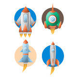 Rockets spaceship satellites vector flat cartoon icons. Rockets or spaceship shuttle and satellites flat cartton icons. Vector isolated set of spacecraft or Royalty Free Stock Images