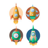 Rockets or spaceships retro cartoon vector flat icons Royalty Free Stock Photography