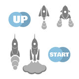 Rockets for the start in the business. Set gray missiles. Rockets for your business. Startup icon flat design. Vector illustration Royalty Free Stock Photo