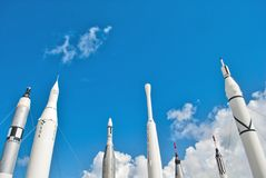 Rockets storici alla NASA del centro spaziale fotografia stock