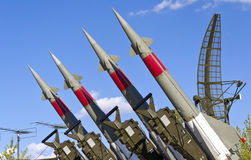 Rockets of a surface-to-air missile system. Are aimed in the sky Stock Image