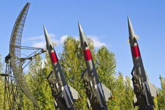 Rockets of a surface-to-air missile system. Are aimed in the sky Stock Images