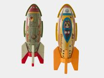 Rockets tin toy / Isolated white. Rockets tin toy , Isolated white Royalty Free Stock Photography