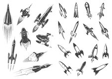 Rockets vector spaceship cartoon retro icons set Royalty Free Stock Photography