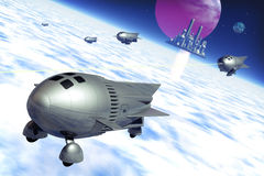 Rockets at war. A rockets war with a futuristic and vintage background in 3d Stock Photo
