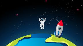 Rocketship and astronuat on earth. Illustration vector illustration