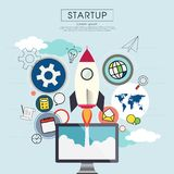 Rocketship on computer for startup media. Rocketship on computer for startup media Stock Images