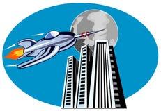 Rocketship flying Royalty Free Stock Image