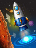 Rocketship flying around the planet. Illustration Royalty Free Stock Image