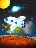 Rocketship flying into the space. Illustration Royalty Free Stock Images