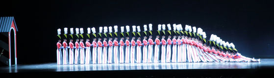 Rockettes at Radio City Music Hall, New York city. The  Rockettes dance in Radio City Music Hall, New York City. Here, they perform their famous Dance of the Royalty Free Stock Image