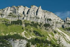 Rockface in the Austrian Alps in summer Royalty Free Stock Photography