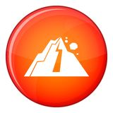 Rockfall icon, flat style Stock Images