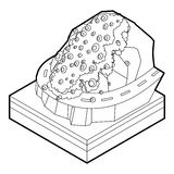 Rockfall icon in outline style. On a white background vector illustration Stock Images