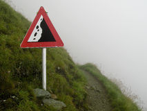 Rockfall sign in the alps Royalty Free Stock Image