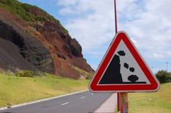 Rockfall. Signal in azores island, Portugal Royalty Free Stock Photos
