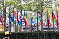 Rockfeller Center Flags in New York Royalty Free Stock Photos