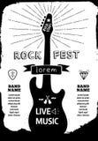 Rockfestivalplakat Schwarz- weiße Illustration des Vektors Stock Abbildung