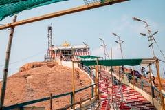 Rockfort Thayumanaswami temple in Tiruchirappalli, India. Tiruchirappalli, India - January 4, 2018 : Rockfort Thayumanaswami temple Stock Photo