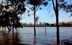 2011 Rockhampton Fitzroy River Floods peaked views. Flooding in 2011 that forced the Bruce Highway closure access to Rockhampton areas Stock Photography