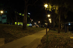 Rockhampton River bank park at night. Looking toward the old bridge Royalty Free Stock Photos