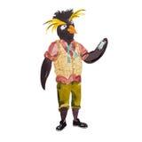 Rockhopper-Hippie-Pinguinillustration Stockbilder