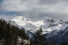 Rockie Mountains in BC. BC Rockies in Springtime. Forest and sky Stock Photo