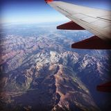 Rockies. Flying over the Rockies royalty free stock photography