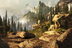 Rockies Landscape. Rocky Mountain scene with bald eagle soaring in the far distance Royalty Free Stock Image