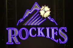 Rockies sign. Colorado Rockies sign in outfield of Coors field in denver Colorado royalty free stock images
