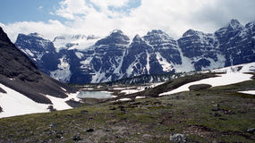 Rockies in summer. Random in Rockies in June when there is still snow on summits named Ten Peaks royalty free stock photography