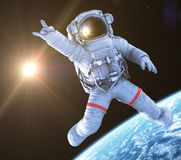 Rocking Astronaut, 3d render Royalty Free Stock Image