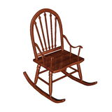 Rocking chair - 3D render. Brown wooden rocking chair isolated in white background - 3D render Royalty Free Stock Photos