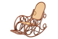 Rocking chair, 3D rendering. Isolated on white background Royalty Free Stock Image