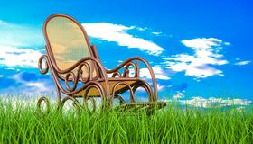 Rocking chair in green grass against blue sky, 3d rendering. Rocking chair in green grass against blue sky, 3d Stock Images