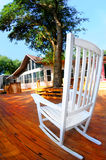 Rocking chair on huge deck Royalty Free Stock Photo