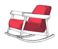 Rocking chair isolated on white background. Sketch a comfortable chair. Vector. Illustration royalty free illustration